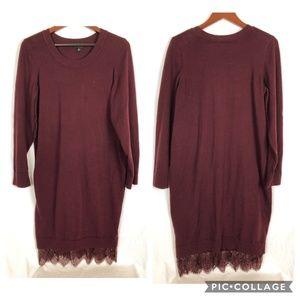 Torrid Burnt Red Plum Size 2 Sweater Dress W Lace